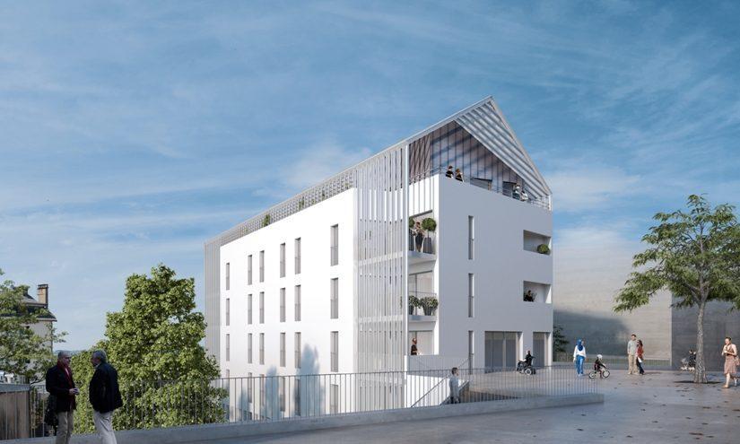 Résidence Le Parvis - Combarel à Rodez. Vue du parvis.